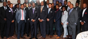 The first participants and mentors in the Black Male Entrepreneur Institute gather at City Club April 17, 2015, in Washington, D.C.   GREGORY DAVENPORT